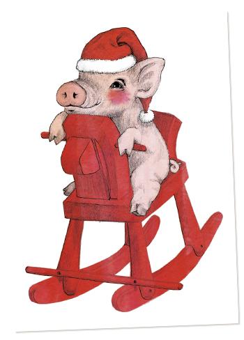 keinuhevonen, minipossu, joulukortti